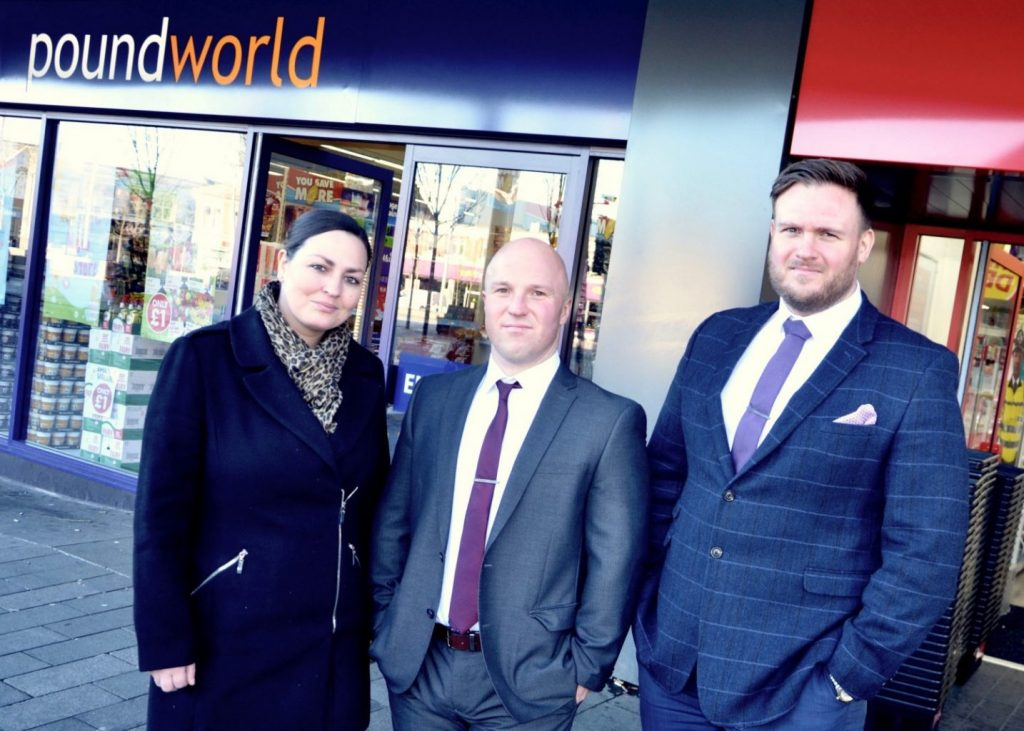 Stacey Mitchinson, of Poundworld, with Peter Moore and Richard Townsend of T3 Security