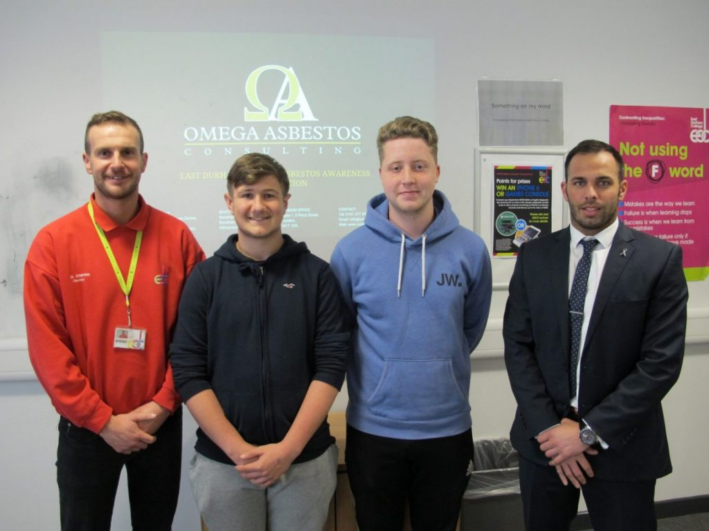East Durham Joinery lecturer Joe Atherton, East Durham College students Leyton Ramsay and Callum Scott and Omega Asbestos Consulting's Commercial Director Steven Hubery.