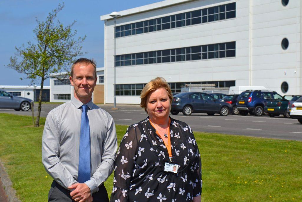 """Paul Wellstead, Developer of Spectrum Business Park and Yvonne Charlton, Head of HR ResQ Seaham"""