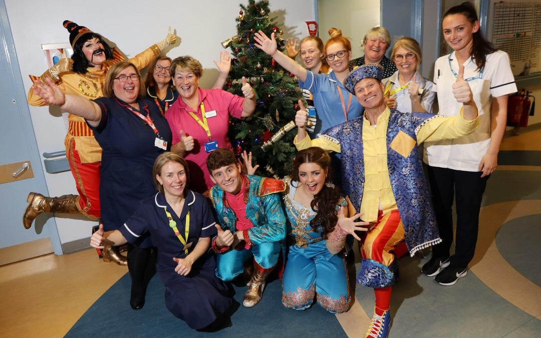 Panto stars visit poorly children who are spending this Christmas in hospital