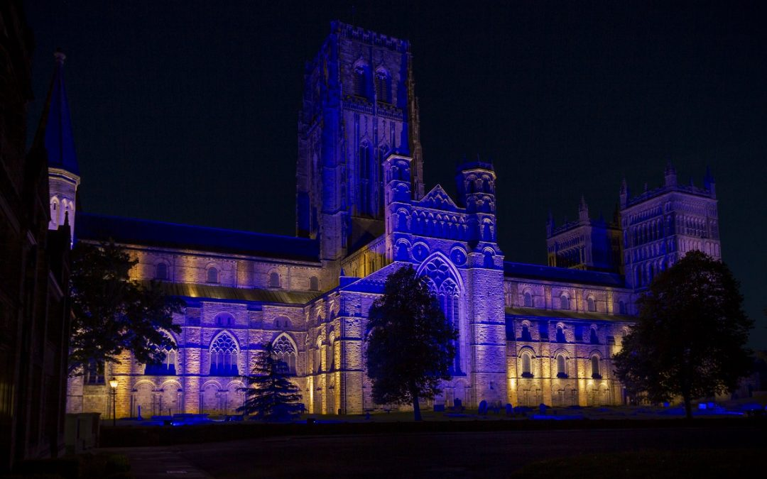Durham Cathedral turns blue in support of the NHS