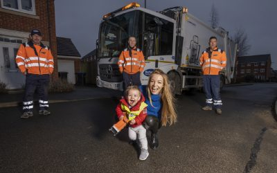 Bin men get into the festive spirit to bring Christmas cheer to children on their route